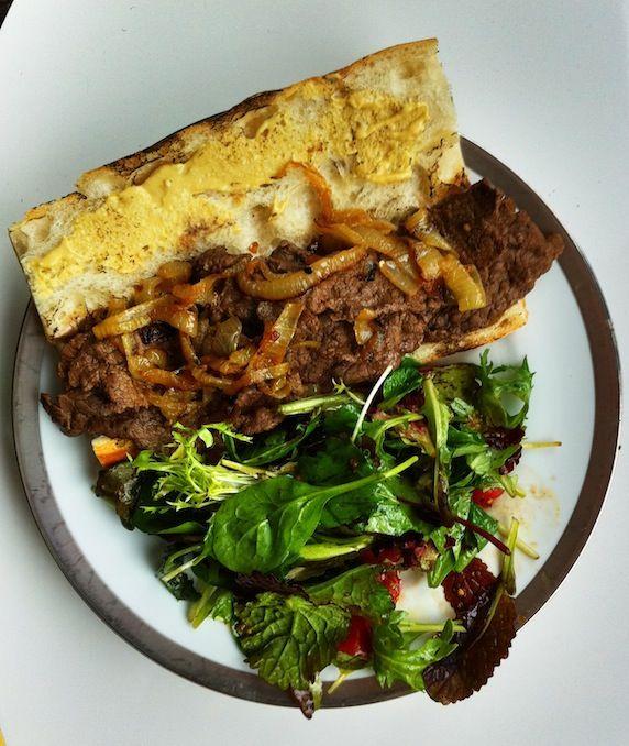 yummy sustainable locally-sourced steak sandwich