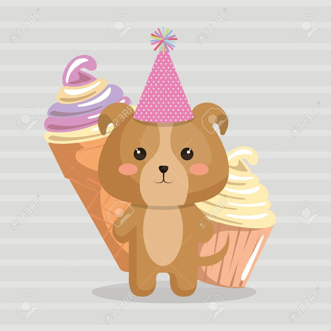 Cute dog with ice cream kawaii birthday card vector illustration design ,