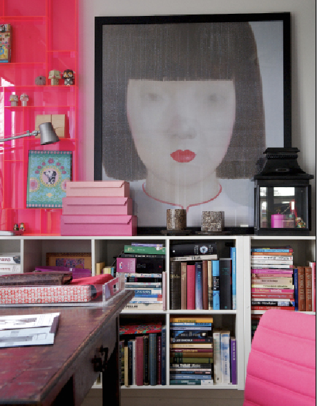Marian Thuesen's office includes an antique desk, IKEA bookshelves and Marianne's own painting. htf. magazine issue one. Photography: Charlotte Schmidt Olsen/House of Pictures/Picture Media. www.hardtofind.com.au