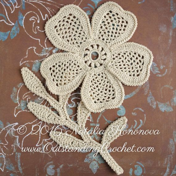 Irish Crochet Applique Pattern Looming Flower With Leaf Lace
