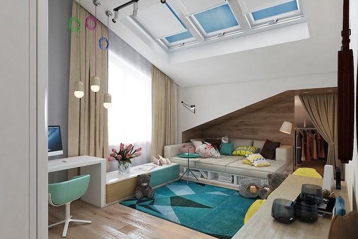 Wandgestaltung Jugendzimmer Fensterdeko Ideen Blau Grüner Teppich  Schreibtisch Ideen Sofa Design Idee Großes Kinderzimmer