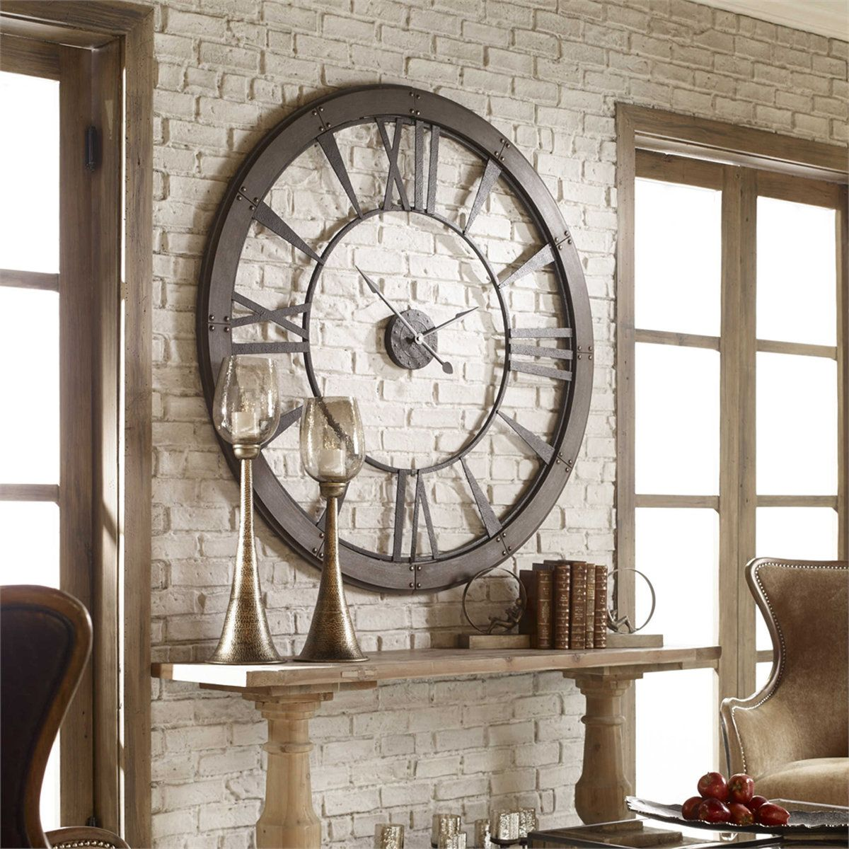 Riveting Industrial Oversized Clock Large Wall Clock Decor Clock Wall Decor Big Wall Clocks