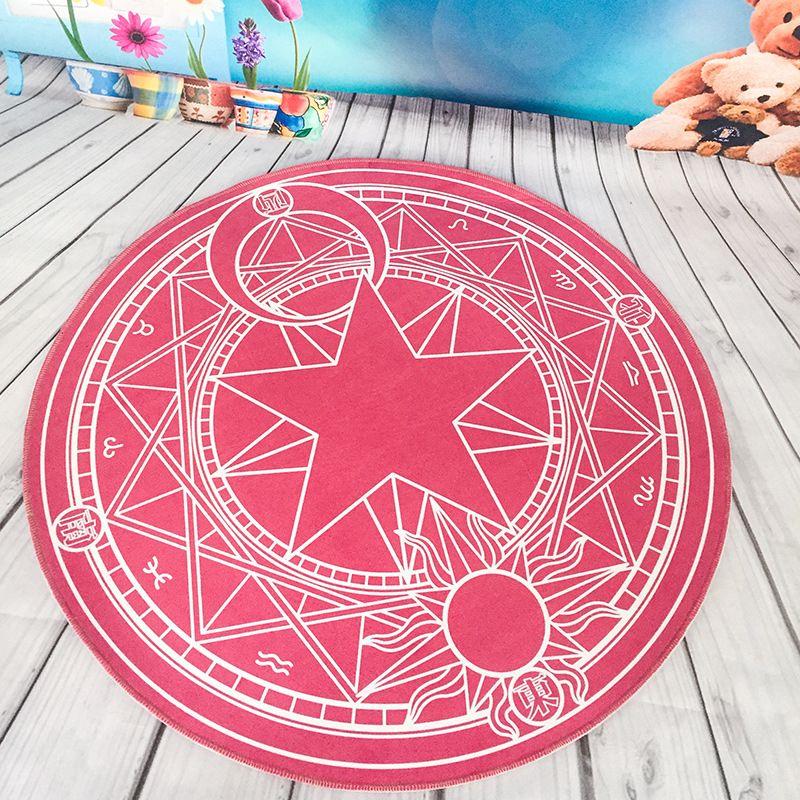 Pentacle Magic Array Round Carpet Living Room Pringting Mats Children Cartoon Star Rugs Circular