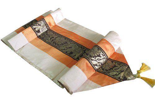 Hellojatujak Really Nice Texture Big Elephant In Gold Bed Runner Or Table Runner Thai Silk Size 16 Inches X 97 In Elephant Table Bed Runner Beautiful Bedding
