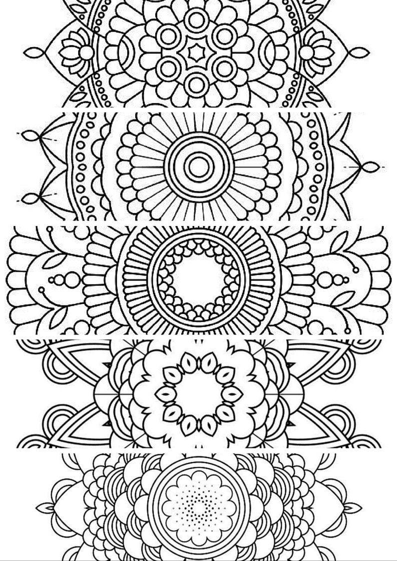 Mandala Coloring Pages Pdf Free : Bookmarks printable instant download pdf