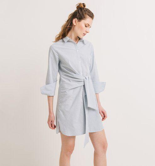 7288eaac0cb Robe-chemise+nouée+Femme