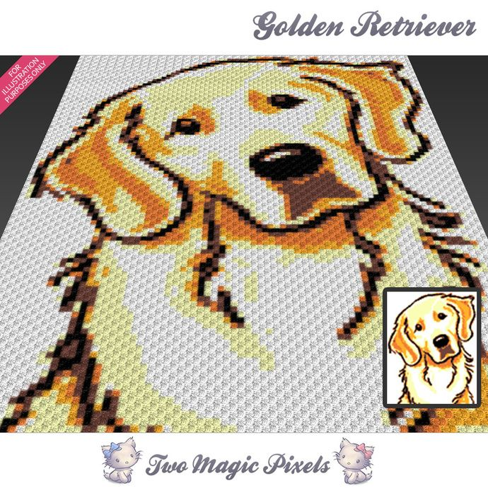 Golden Retriever crochet blanket pattern; knitting, cross stitch graph; pdf download; written counts, C2C row-by-row instructions included by TwoMagicPixels, $4.74 USD