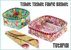woven fabric basket with free PDF instruction sheet
