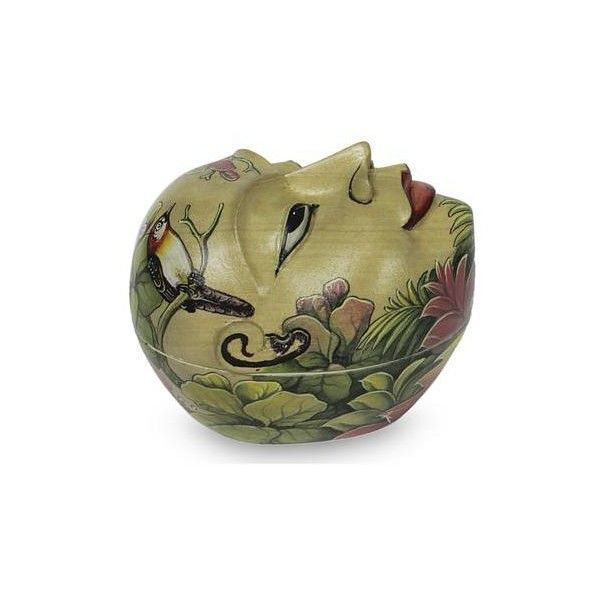 Novica artisan crafted hindu theme decorative box from bali 60 ❤ liked on polyvore featuring home home decor small item storage beige