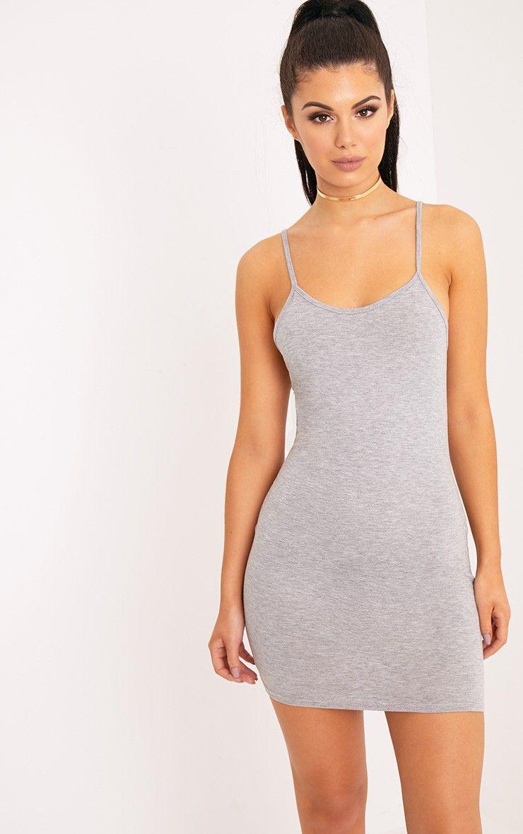 5da66fde69f6c Grey Marl Strappy Neck Bodycon Dress Slay all day in this strappy neck  bodycon dress, in a e.