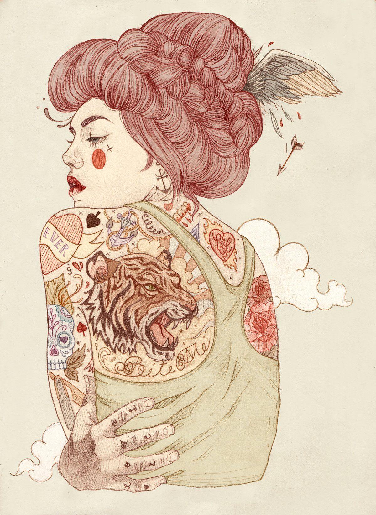Liz Clements, uma ilustradora de Londres, conhecida por sua arte estilizada e inspiradas em tatuagens e designe feminino.  Gosto desse lápis macio que ela utiliza e essas cores, com certeza uma arte com muita identidade.