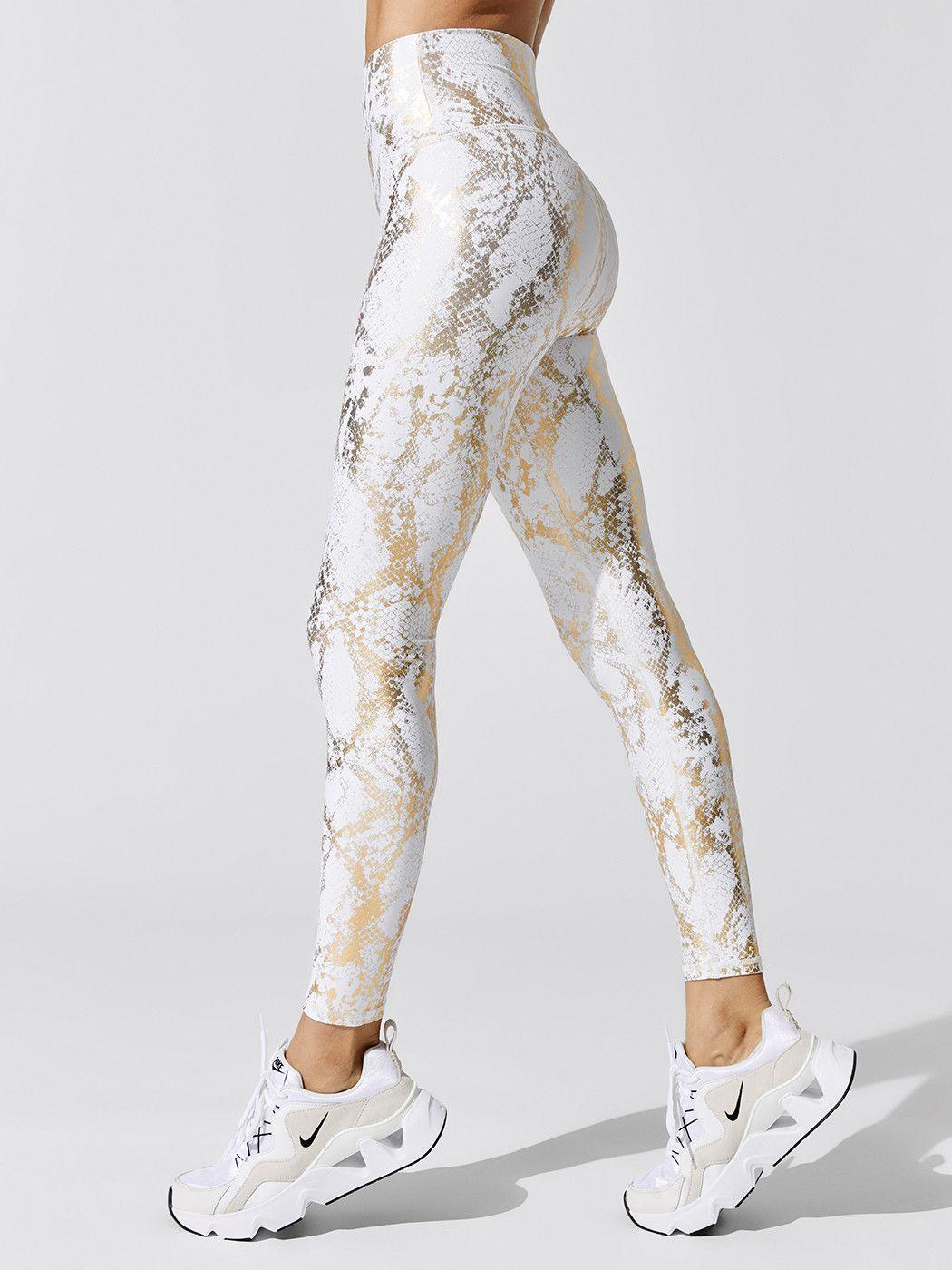 Snake Print Leggings in Cream/ Gold in 2020 Snake print