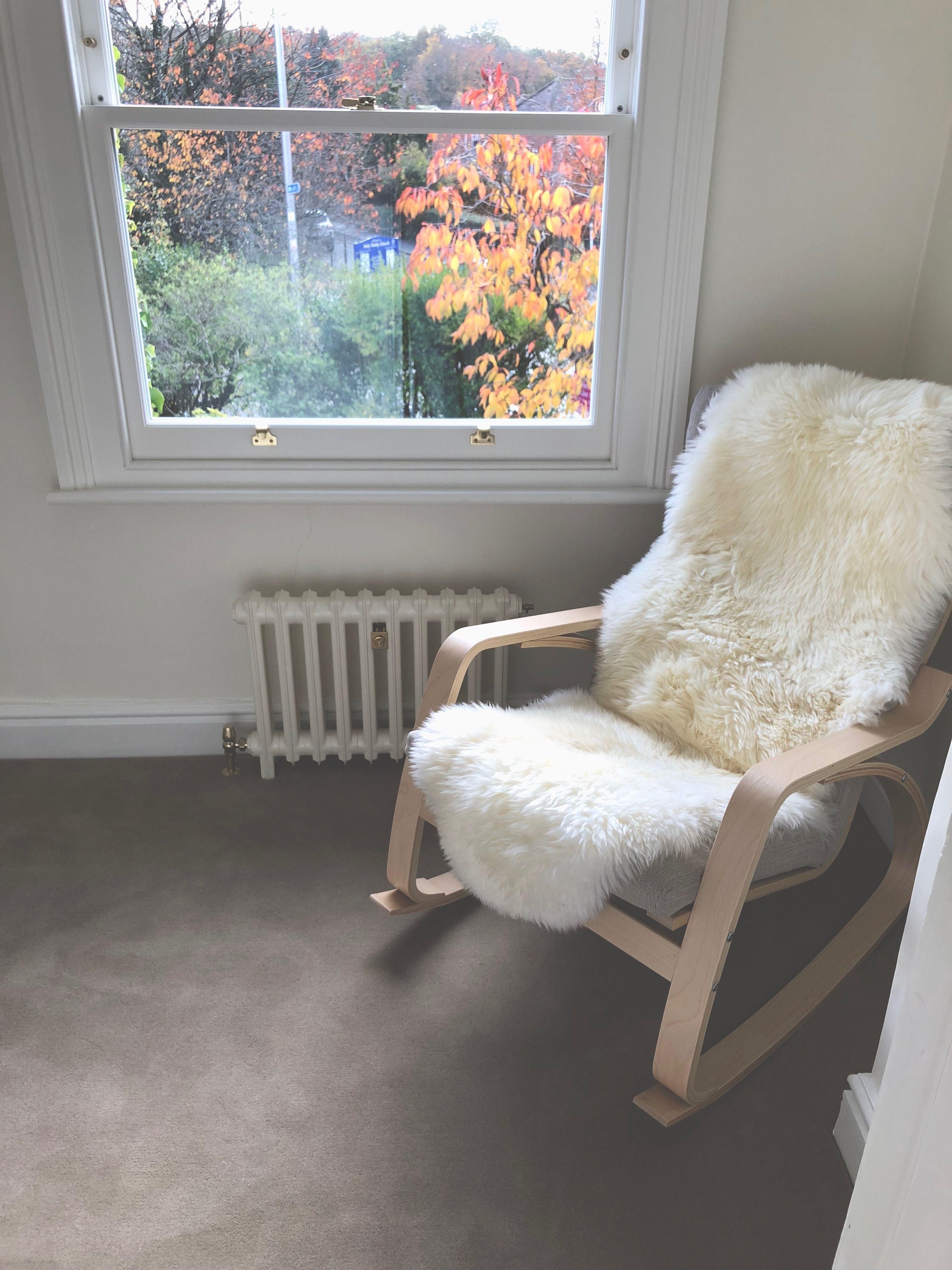 Nursing Chair Ikea Poang Rocker Nursery Neutrals Ermilk Sheepskin Rug