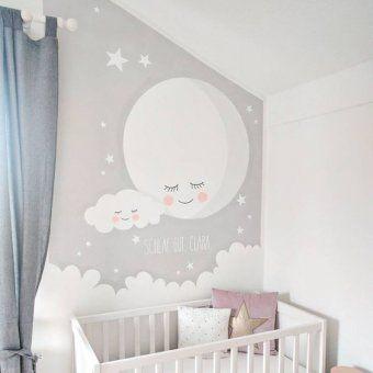 Fresque Murale Avec La Lune Et Un Nuage En Gris Chambre Bebe