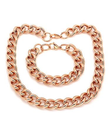 Another great find on #zulily! Rose Gold Chain-Link Necklace & Bracelet #zulilyfinds