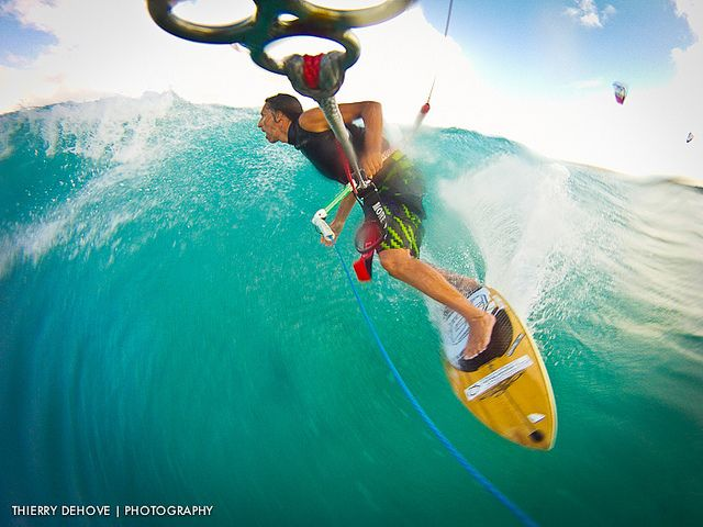 Expert kite-surfer Thierry Dehove taking on big waves in Anguilla! Need to do this!!
