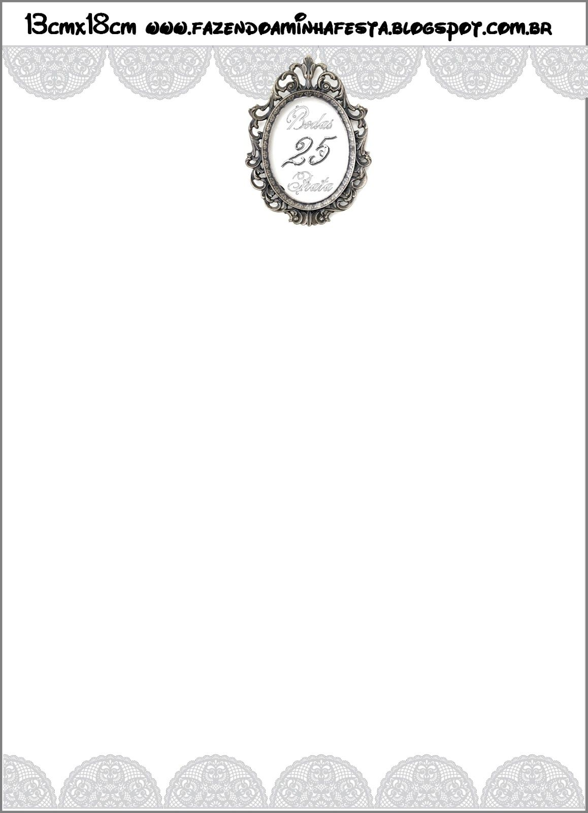 Bodas De Prata Renda Branca Kit Completo Com Molduras Para