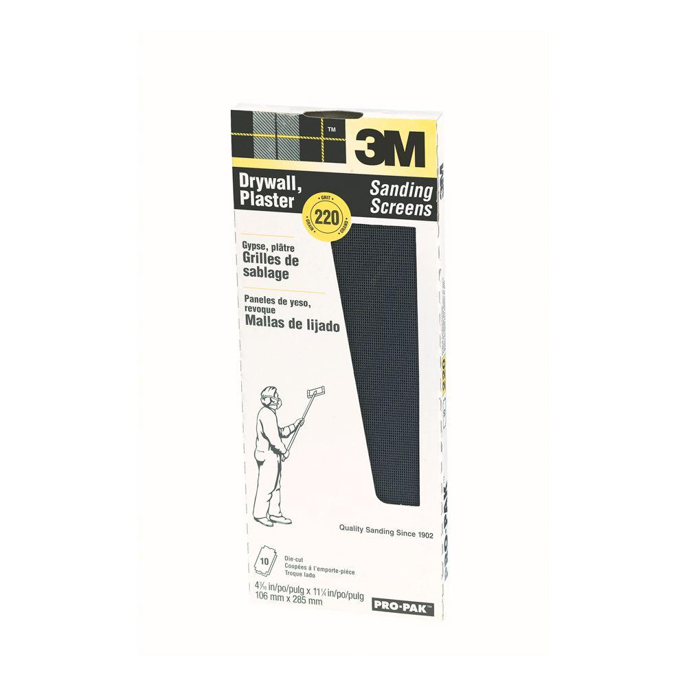 3m Pro Pak 4 3 16 In X 11 1 4 In 220 Grit Sanding Screens 10 Pack 99436 How To Patch Drywall Sanding Sponges Wire Brushes
