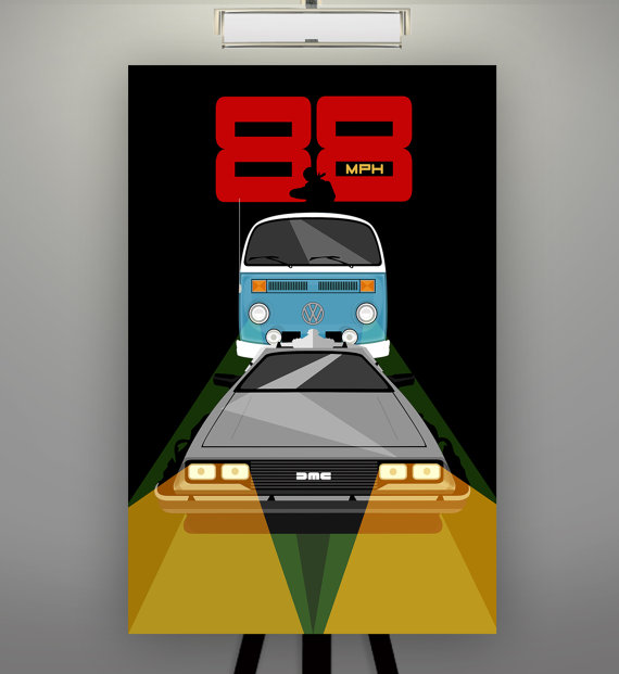 """Back to the Future Inspired """"88 MPH"""" 11X17 Art Print Minimalist Pop Art Poster Delorean Marty McFly Doc Brown"""