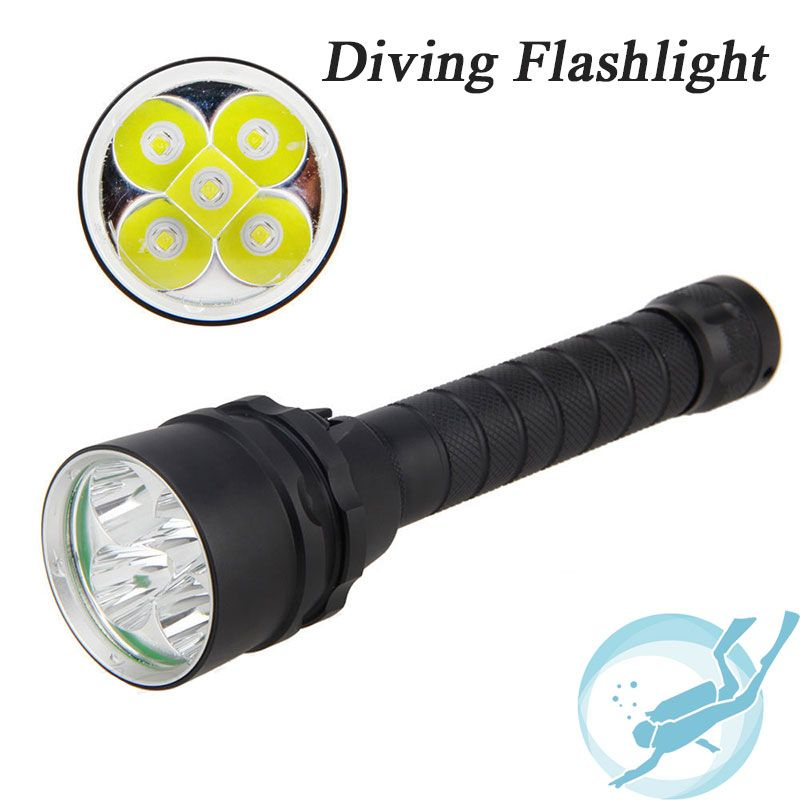 Underwater 100m Diving Flashlight 15000 Lumen 5x Cree Xm L L2 Dive Flash Light Diving Light Lamp Torch For Outdoor D Portable Light Outdoor Lighting Flashlight