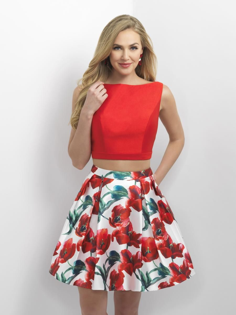 be72e6d8c8 Blush 11153 is a two piece short Mikado party dress with floral print skirt  and sleeveless crop top with open keyhole back.