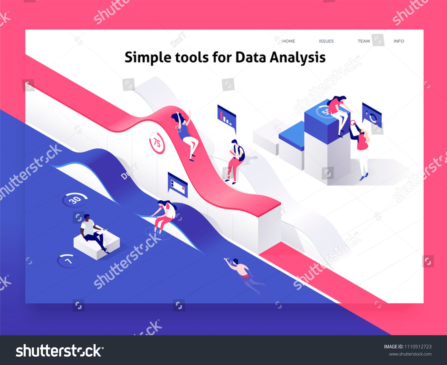 People interacting with charts and analysing statistics and data. Landing page template. 3d isometric vector illustration. #Ad , #AFFILIATE, #analysing#statistics#data#People