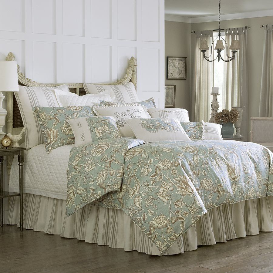 home piece embroidered sage chic comforter bag in products block set sonita design color floral bed a