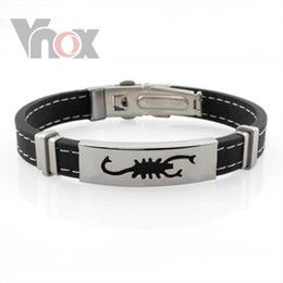 e13777162c56 Frescas hombres pulseras con hombres de diseño escorpión pulseras joyas  pulsera de cuero negro para los hombres de la joyería