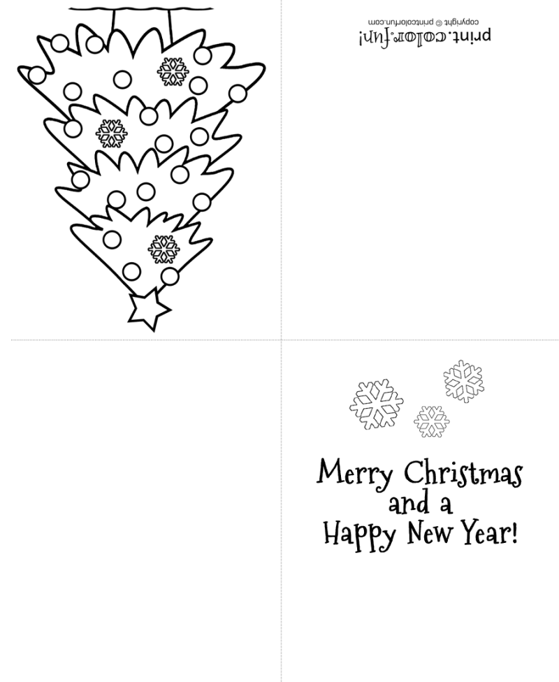 Here S A Free Christmas Card You Can Print And Then Color A Sample Of A Finished Christmas Coloring Cards Funny Printable Christmas Cards Christmas Cards Free