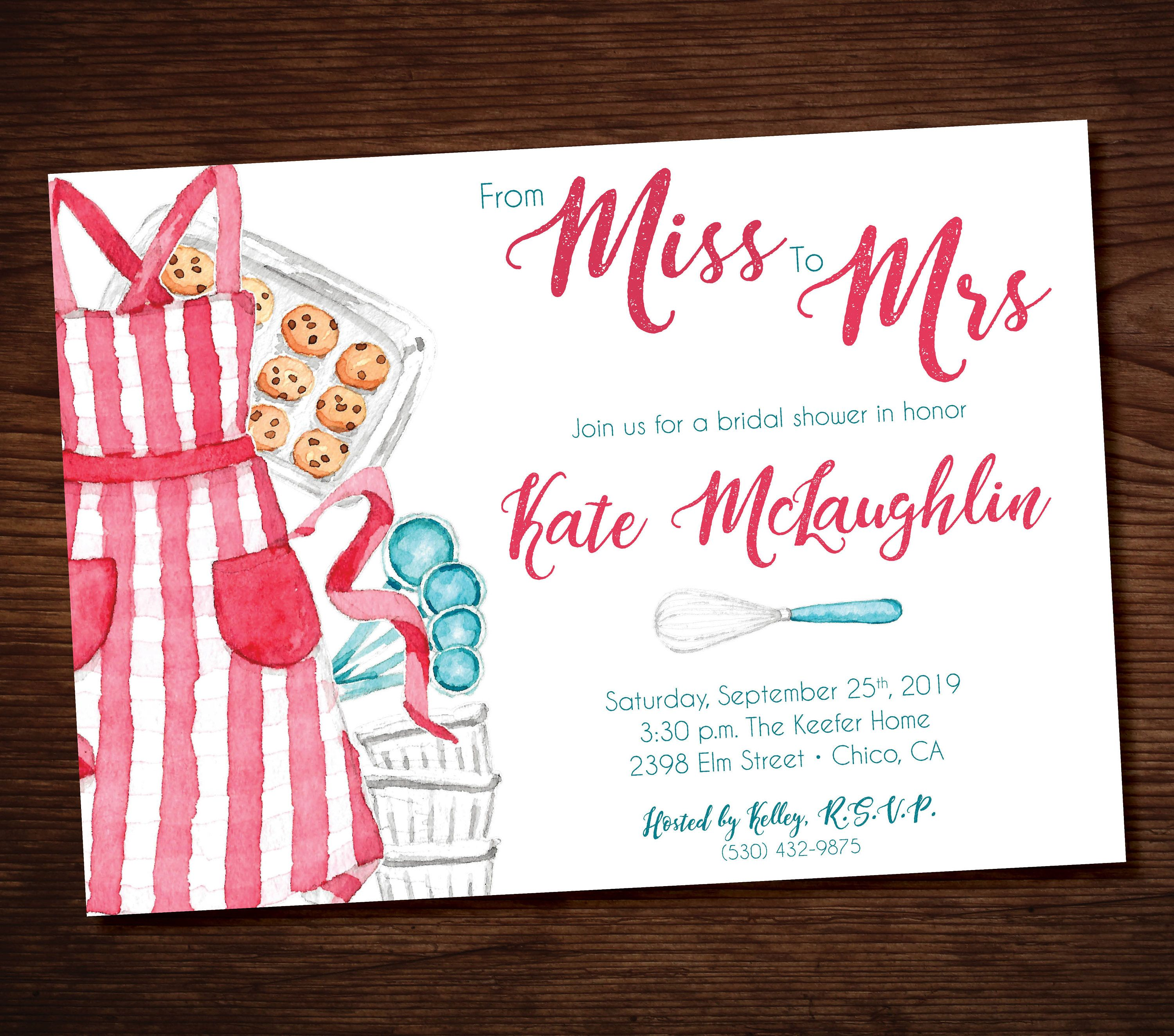 Printable Baking Bridal Shower Invitation