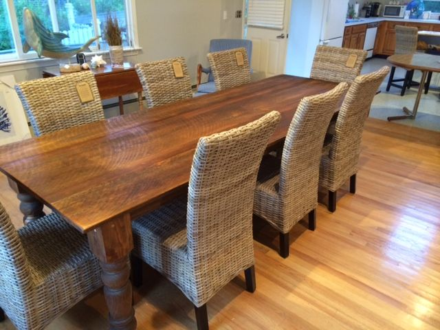 9 Foot Rustic Reclaimed Pine Farm Table With 5 Thick Turned Legs