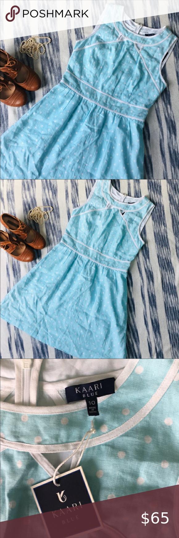 Nwt Kaari Blue Mint Linen Polkadot Spring Dress Dress Size Chart Women Blue Midi Dress Polka Dot Dress [ 1740 x 580 Pixel ]