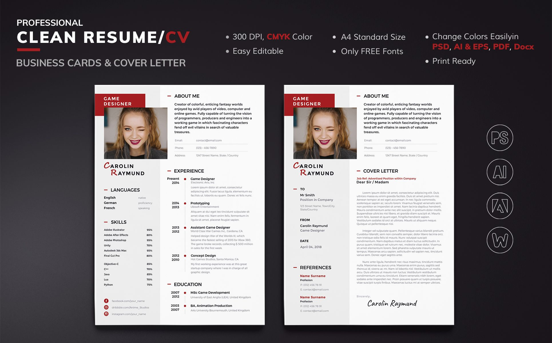 Carolin Raymund Game Designer Resume Template 68281 Resume Design Game Design Printing Business Cards