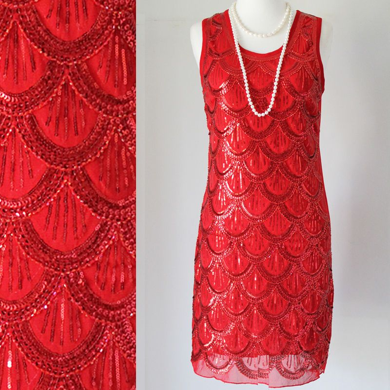 135ba63cf GREAT GATSBY 1920s RED FLAPPER CHARLESTON DOWNTON ABBEY PARTY SEQUIN ...