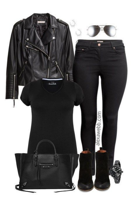 6cd9e3205f Plus Size Biker Jacket Outfit - Plus Size Fashion for Women - alexawebb.com   alexawebb