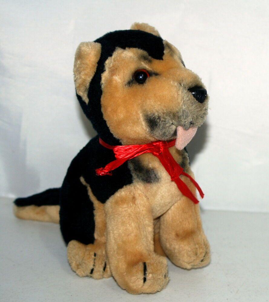 Vintage Dakin Plush German Shepherd Dog Puppy With Tongue Out 1987