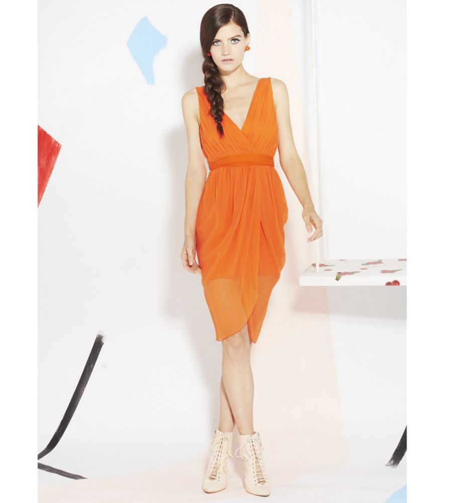 Orange dress casual  Sunset Orange Cynthia Draped DressI would love this in a