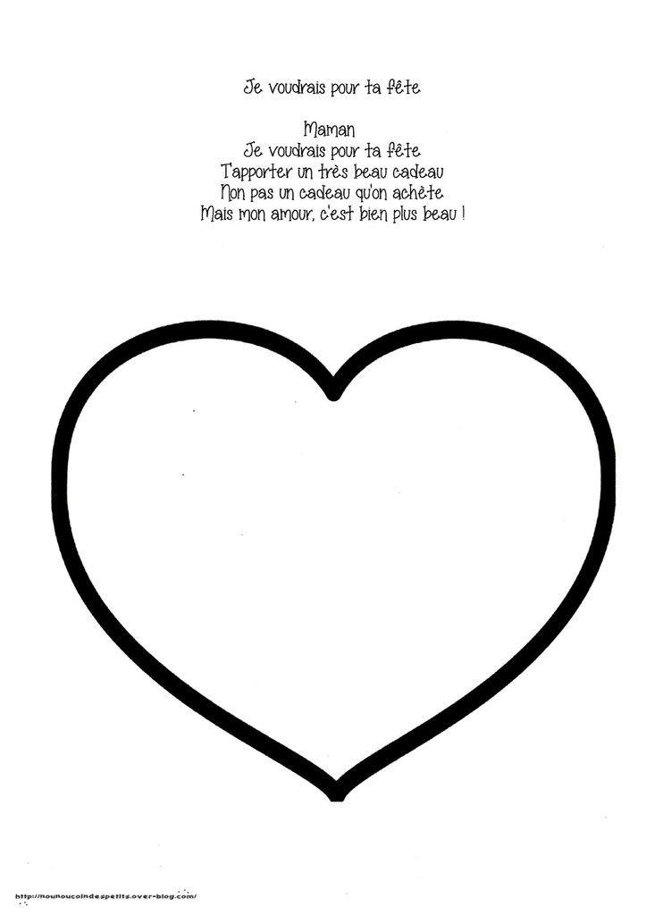 Gros Coeur Pour Maman En Playmais Poeme Coloriage Fête