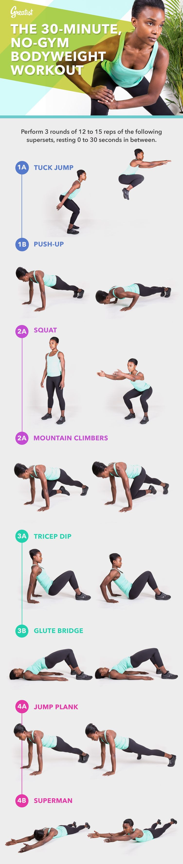 Exercise workouts. 30 Minute  No Gym Bodyweight Workout   Graphics  Home workouts and