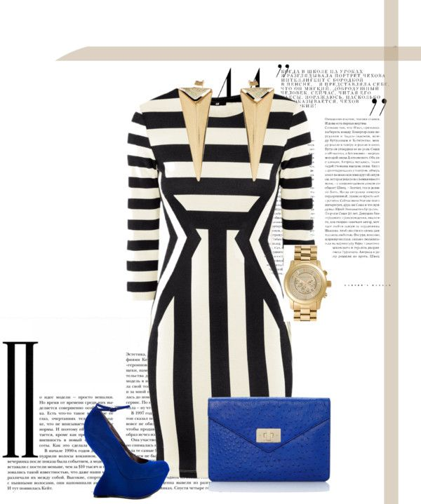 """Stripes with a splash of blue!!"" by kenya867 on Polyvore"