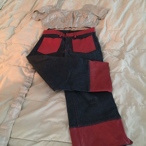 D&G capris D &G capris cute jean Capri red leather front pockets, red leather cuff. Super cute D&G Jeans
