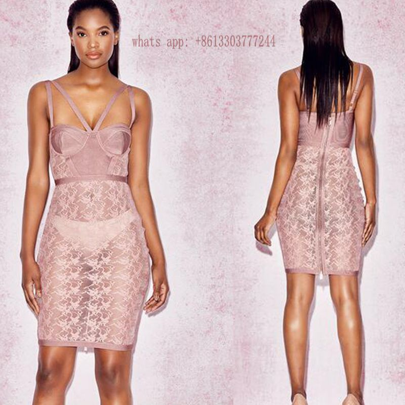 2017 summer dress sexy women pink lace dress bodycon see through ...