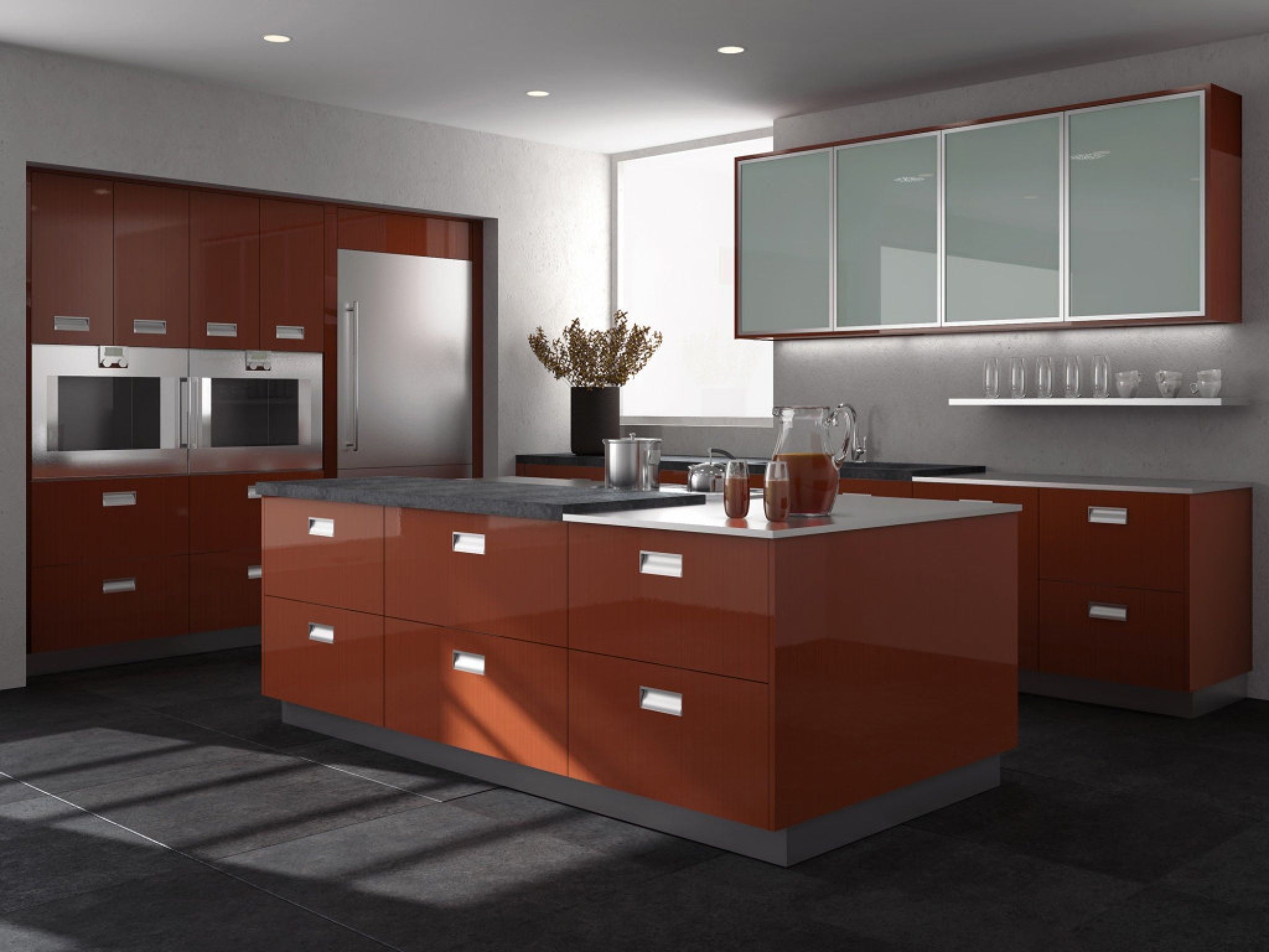 european style modern high gloss kitchen cabinets - ideas for kitchen  layouts Check more at http
