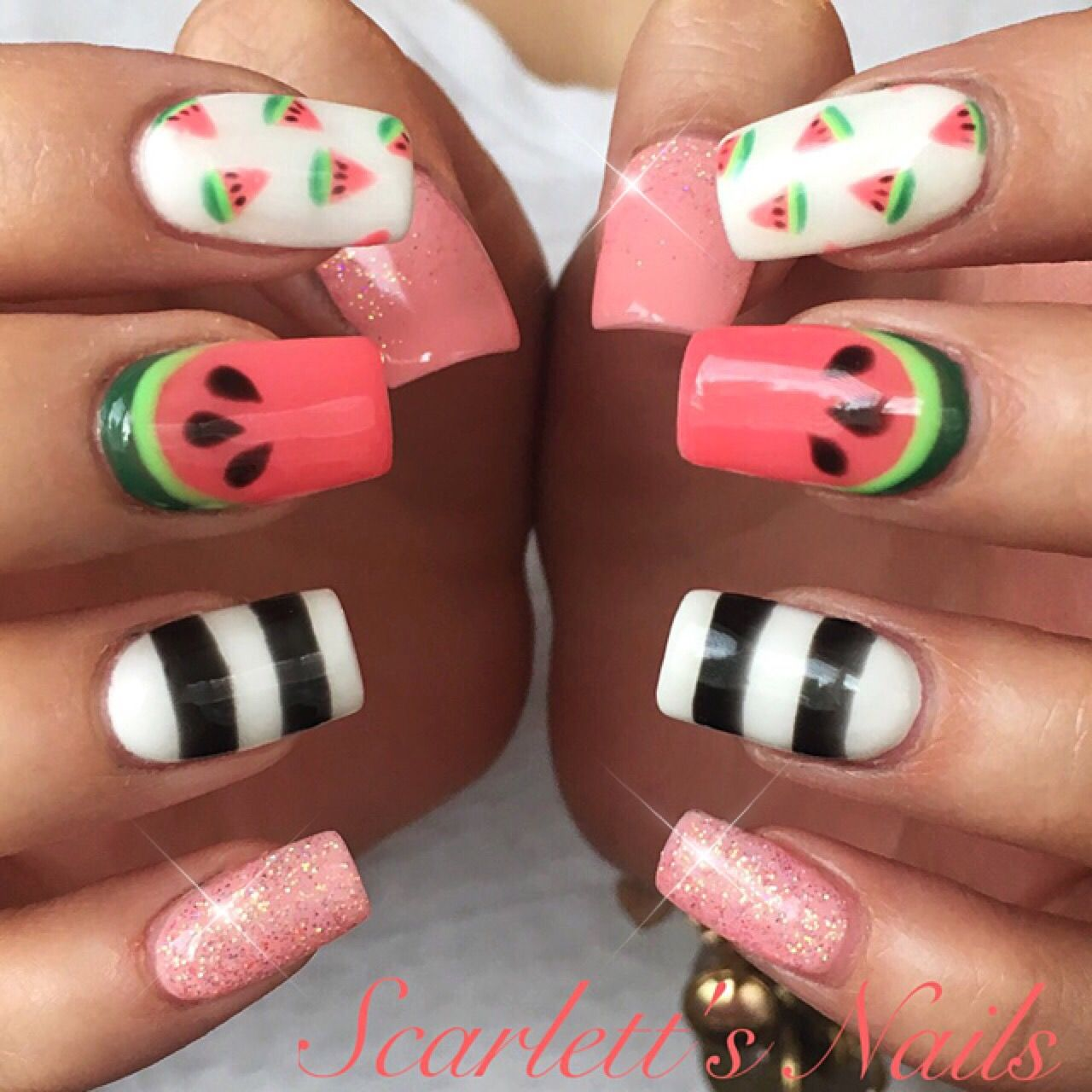 Coral green white black striped pink glitter watermelon nail art coral green white black striped pink glitter watermelon nail art gel nails scarlettsnails prinsesfo Image collections
