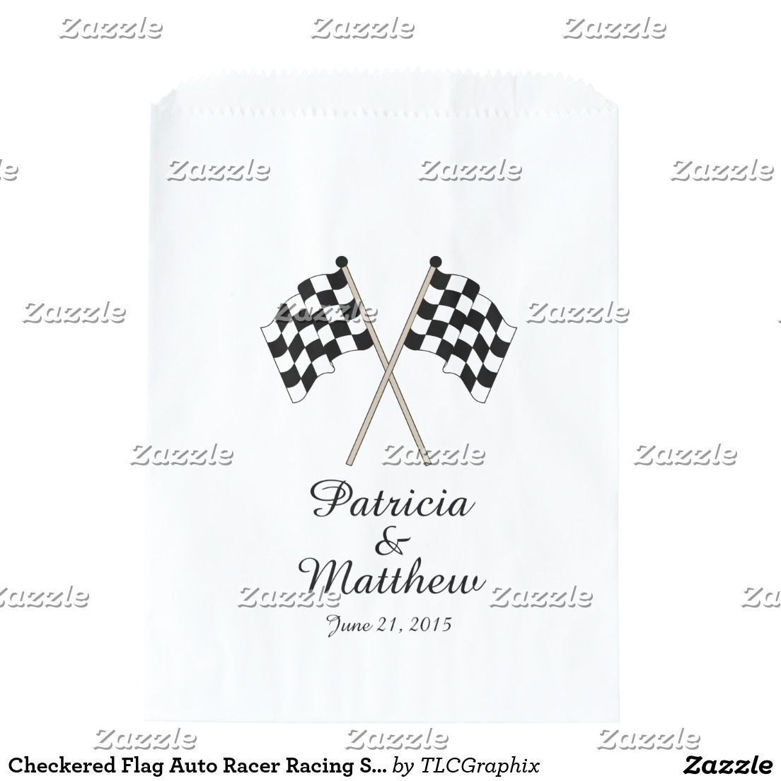 Checkered Flag Auto Racer Racing Sports Wedding | Wedding Favor Bags ...