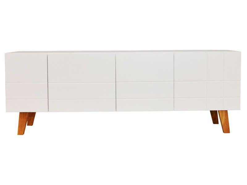 Meuble TV 140 cm finition laqué LONDON coloris blanc - Vente de