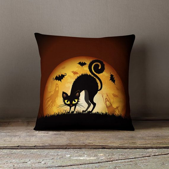 Creepy Cat Pillow Halloween Throw Pillows Halloween House