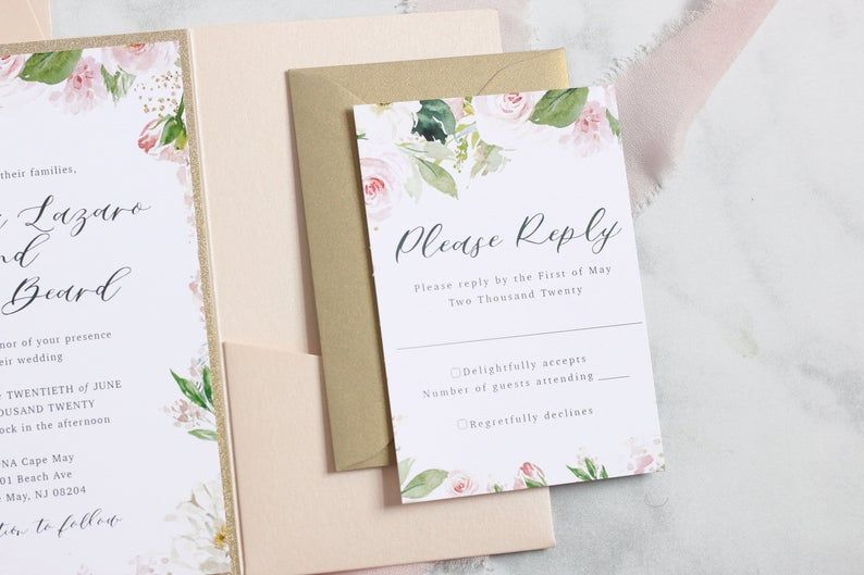 Blush and Gold Glitter Floral Wedding Pocket Invitations - Includes Invitation, RSVP Card, Belly Ban