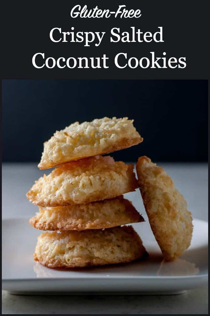 Crispy Salted Coconut Cookies These glutenfree Coconut Cookies are topped with a light dusting of sea salt Theyre the first ones to disappear from the cookie tray Make ah...