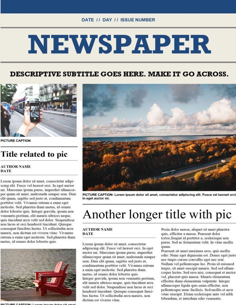 Downloadable Newspaper Template Colona Rsd7 In Blank Newspaper Template For Word Newspaper Template Newspaper Template Word Newspaper Article Template